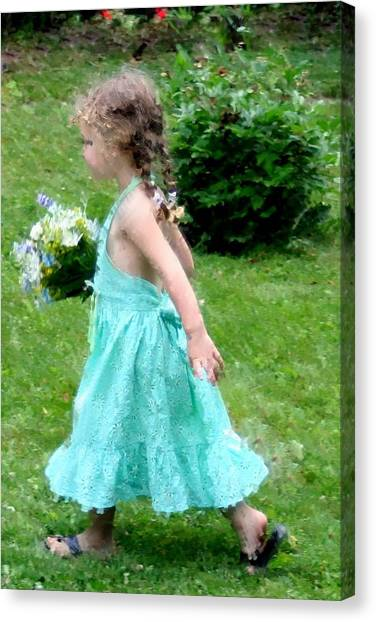 Girl With Flowers Canvas Print by Diane Merkle