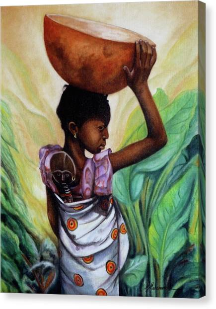 Girl With Her Doll Canvas Print by Marcella Muhammad