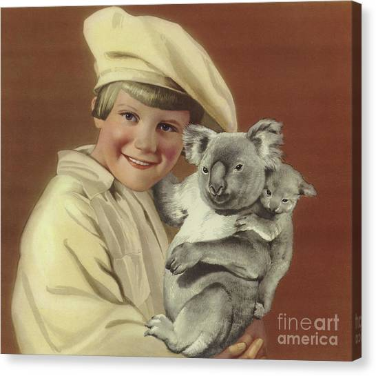 Koala Canvas Print - Girl With Koala And Its Baby by English School