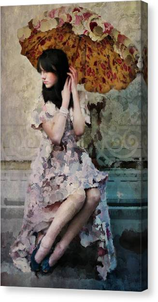 Girl With Parasol Canvas Print