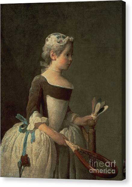 Girl Canvas Print - Girl With Racket And Shuttlecock by Jean-Baptiste Simeon Chardin