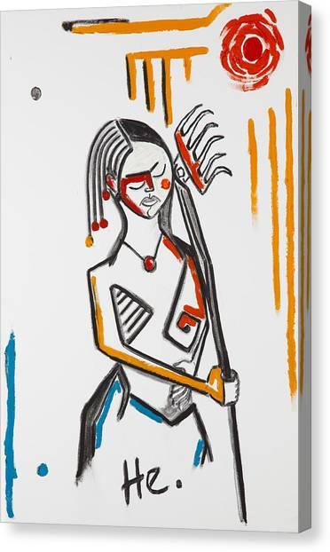 Girl With Rake 36x24 Canvas Print