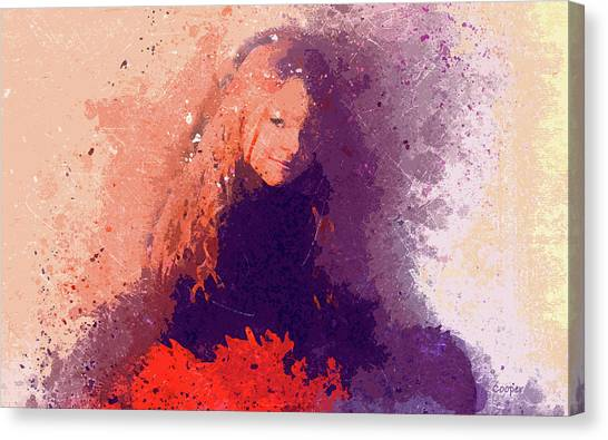 Girl With Red Flowers 2 Canvas Print