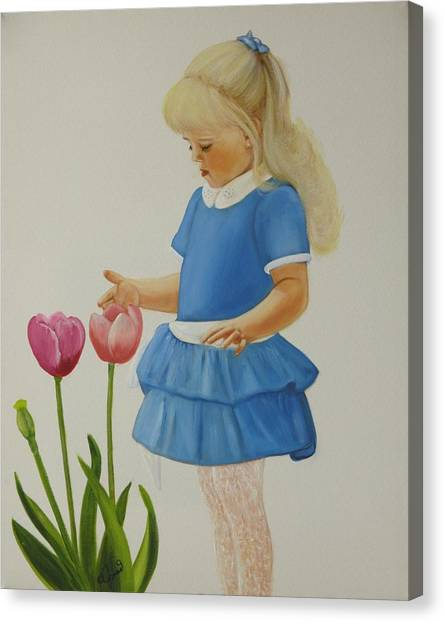 Girl With Tulips Canvas Print by Joni McPherson