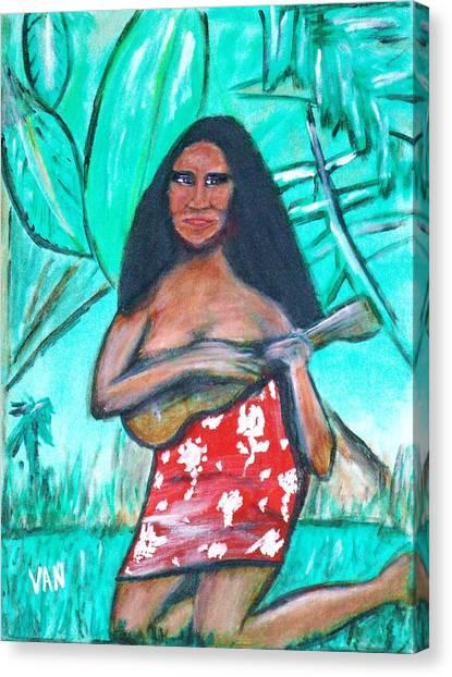 Girl With Ukulele Canvas Print
