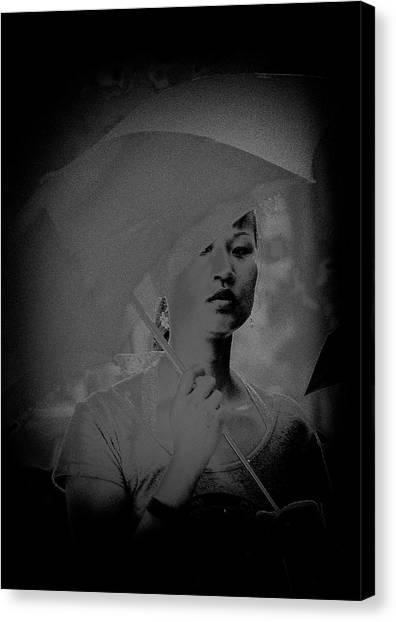 Girl With Umbrella Canvas Print