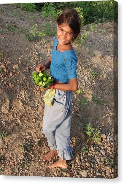 Girl With Vegetables.... Canvas Print by Sandeep Khanwalkar