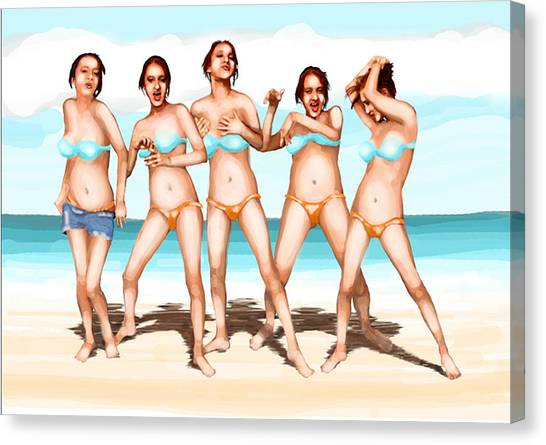 Girls Dancing At The Beach Canvas Print by Leo Malboeuf