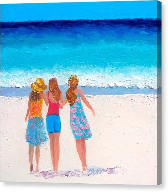 People Walking On Beach Canvas Print - Girls Day Out by Jan Matson