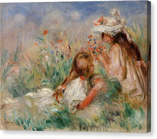Rose In Bloom Canvas Print - Girls In The Grass Arranging A Bouquet by Pierre-Auguste Renoir