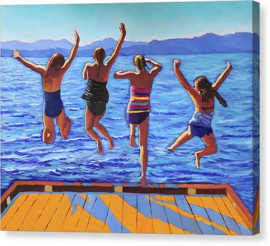 Girls Jumping Canvas Print