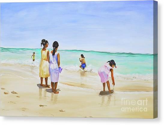 Girls On The Beach Canvas Print
