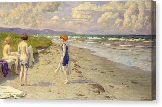 Sand Canvas Print - Girls Preparing To Bathe On The Beach by Paul Fischer