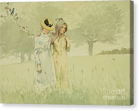 Meadow Canvas Print - Girls Strolling In An Orchard by Winslow Homer
