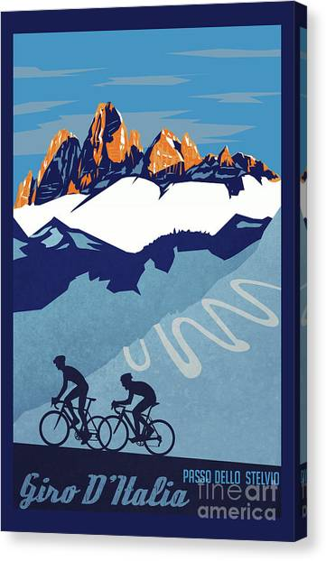 Canvas Print featuring the painting Giro D'italia Cycling Poster by Sassan Filsoof