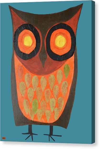 Give A Hoot Orange Owl Canvas Print