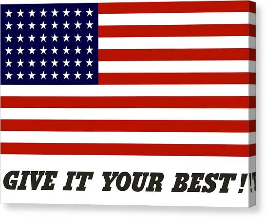 American Flag Canvas Print - Give It Your Best American Flag by War Is Hell Store