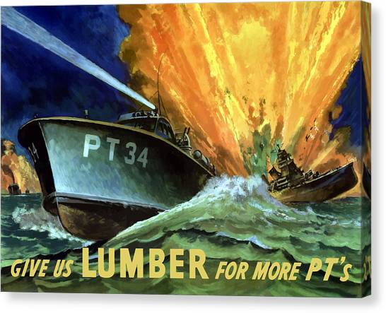 Navy Canvas Print - Give Us Lumber For More Pt's by War Is Hell Store