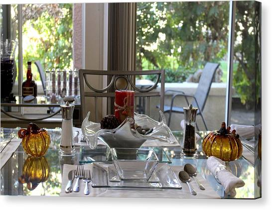 Giving Thanks In California Thanksgiving Table Canvas Print
