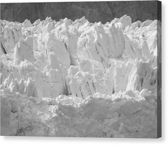 Margerie Glacier Canvas Print - Glacial Ice In Black And White by Katie Beougher