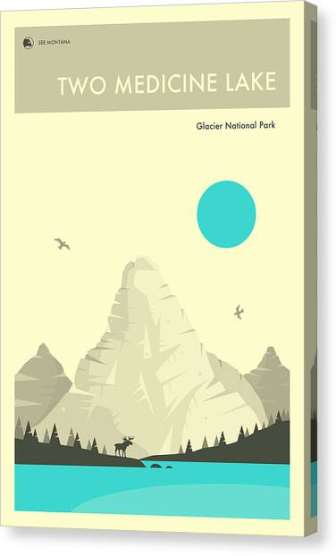 Glacier National Park Canvas Print - Glacier National Park Poster - Two Medicine Lake by Jazzberry Blue