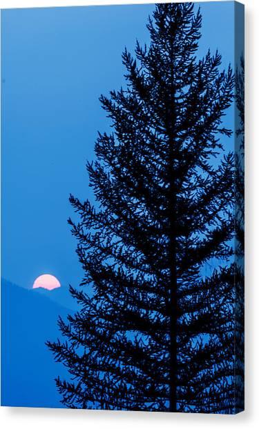 Glacier National Park Sunset Blue Canvas Print