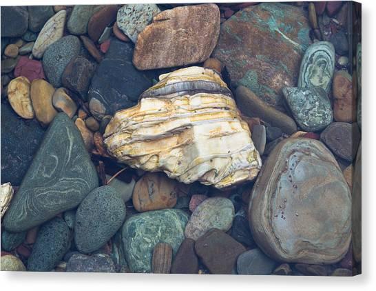 Glacier Park Creek Stones Submerged Canvas Print