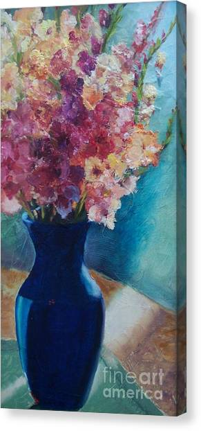 Gladioli-blue Canvas Print
