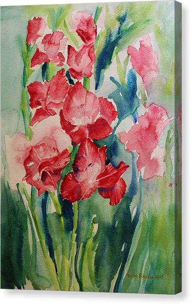 Gladioli Still Life Canvas Print