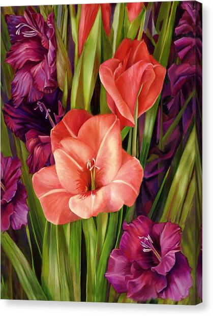 Gladiolus A Bee's View Canvas Print