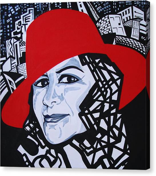 Glafira Rosales In The Red Hat Canvas Print