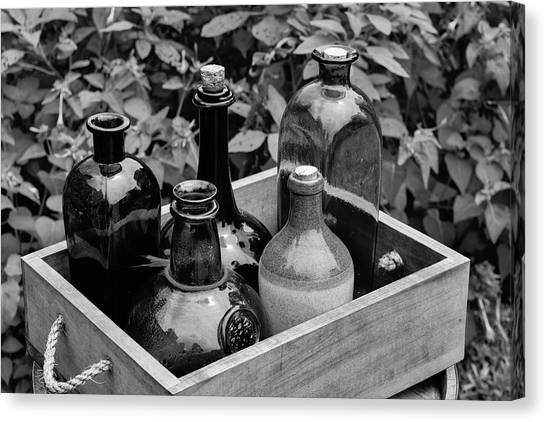 Glass Bottles In The Garden Canvas Print