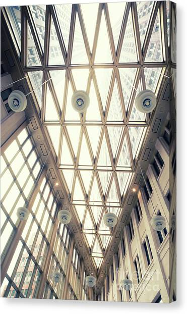 glass ceiling in hall of  new State office  Canvas Print