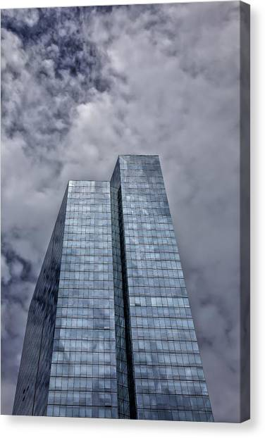 Glass High Rise And Clouds Canvas Print by Robert Ullmann