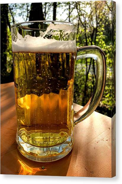 Beer Canvas Print - Glass Of Beer by Matthias Hauser