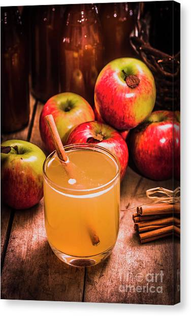 Juice Canvas Print - Glass Of Fresh Apple Cider by Jorgo Photography - Wall Art Gallery