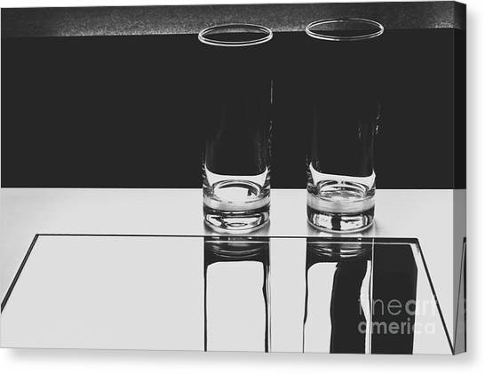 Glasses On A Table Bw Canvas Print