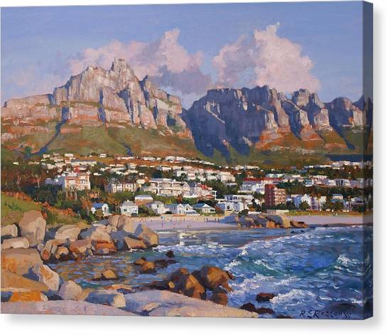Table Mountain Canvas Print - Glen Beach, Cape Town by Roelof Rossouw