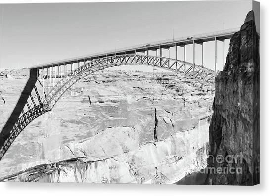 Glen Canyon Bridge Bw Canvas Print