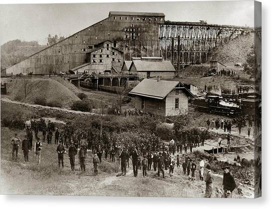 Craft Beer Canvas Print - Glen Lyon Pa Susquehanna Coal Co Breaker Late 1800s by Arthur Miller