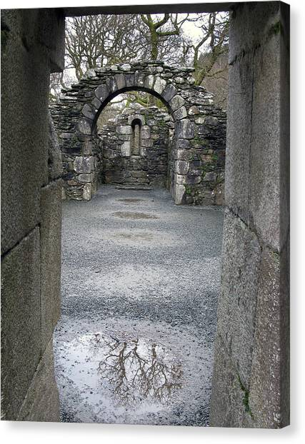 Glendalough Monestery Ireland Priest's House Canvas Print by Richard Singleton