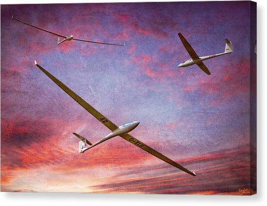 Gliders Over The Devil's Dyke At Sunset Canvas Print