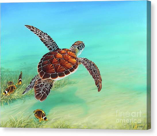 Turtles Canvas Print - Gliding Through The Sea by Joe Mandrick