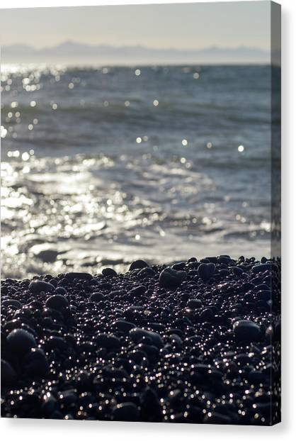 Glistening Rocks And The Ocean Canvas Print