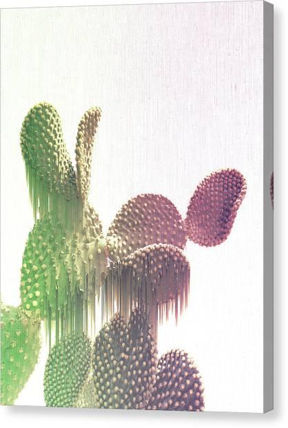Glitch Cactus Canvas Print