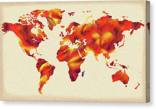 Global Warming Canvas Print - Global Warming Watercolor Map Of The World by Irina Sztukowski