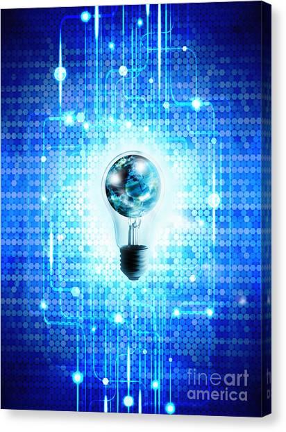 Future Tech Canvas Print - Globe And Light Bulb With Technology Background by Setsiri Silapasuwanchai