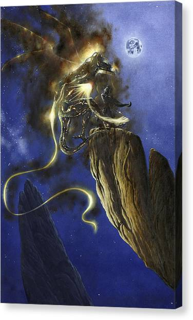 Canvas Print featuring the painting Glorfindel Versus A Balrog Of Morgoth by Kip Rasmussen