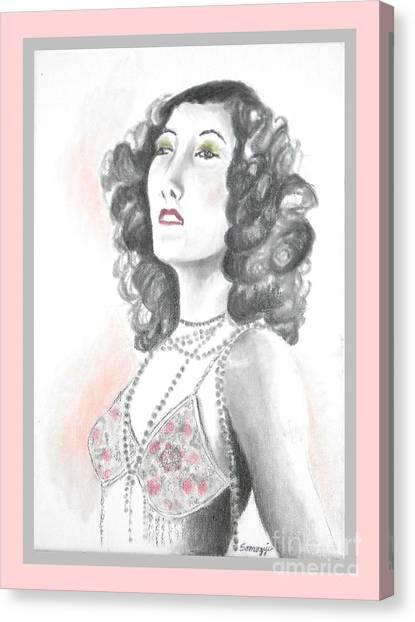 Gloria Swanson Canvas Print - Gloria -- Portrait Of Silent Film Star Gloria Swanson by Jayne Somogy