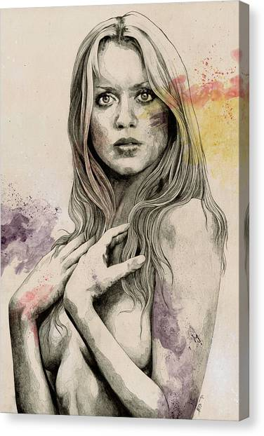 Gloria Canvas Print - Gloria - Sexy Nude Woman Sketch Drawing, Tribute To Gloria Guida by Marco Paludet